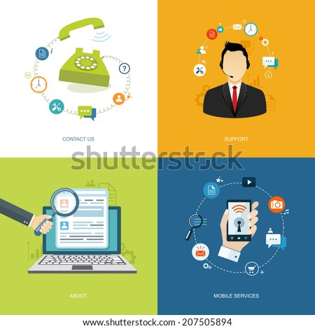 Flat internet banners set. Online support, about us,mobile services,contact us illustrations. Eps10 - stock vector