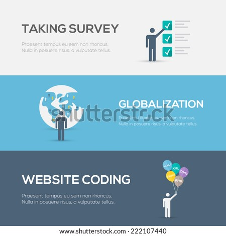 Flat internet concepts. Website coding, globalization and survey. - stock vector