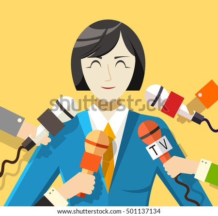 Flat interviewed on television news programs background concept. Vector illustration design