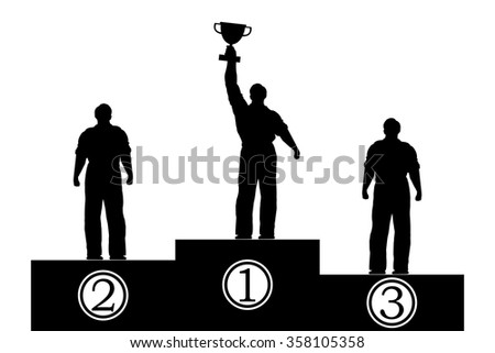 Flat isolated illustration. Silhouettes of men on the pedestal. Award - stock vector