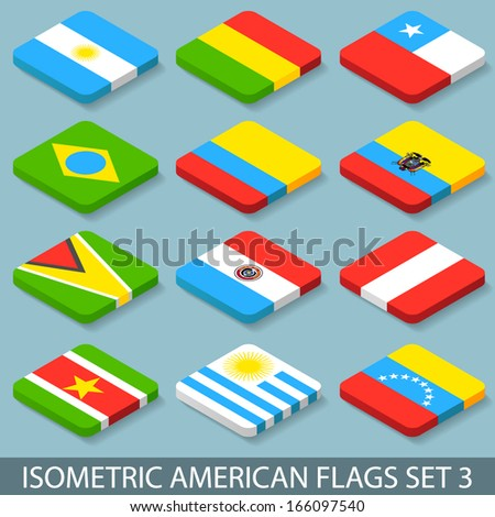 Flat Isometric American Flags Set 3 - stock vector