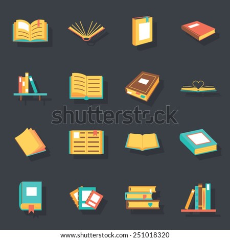 Flat isometric book icons symbols logos isolated set template for web vector illustration - stock vector