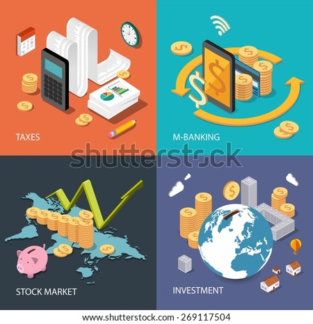 Flat isometric concept for finance, stock market, consulting, investing, crowdfunding, taxes, m-banking, bookkeeping. Can be used for infographics, web design, diagram, banners, promotional materials. - stock vector