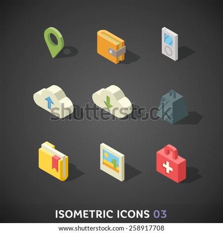 Flat Isometric Icons Set 3 - stock vector