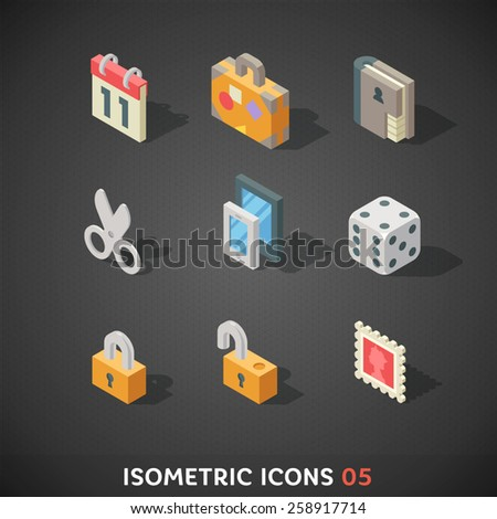 Flat Isometric Icons Set 5 - stock vector