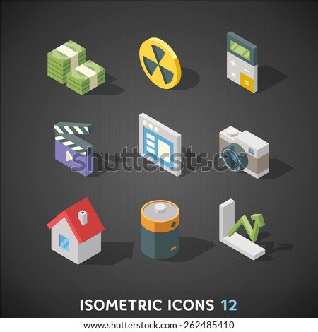 Flat Isometric Icons Set 12 - stock vector