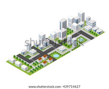 Flat isometric map, landscape city, building skyscraper, picture of the nature, parks, cafe, landmarks. Vector 3d top view block  area