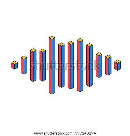 Flat isometric music wave made of peak lines - stock vector