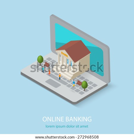 Flat isometric online or internet banking, e banking concepts. 3D bank building is on laptop computer,  isolated. Tiny people are coming to bank, vector illustration - stock vector