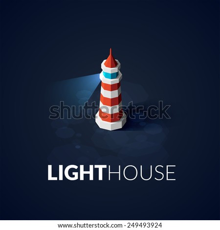 Flat isometric red lighthouse icon on blue sea, illustration vector background - stock vector