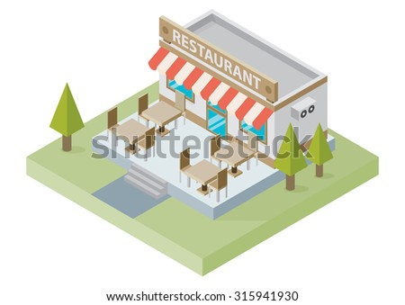 Flat isometric restaurant building with tables and chairs isolated on white background, vector illustration. Food delivery. 3D design elements for construction of urban and village landscapes. - stock vector