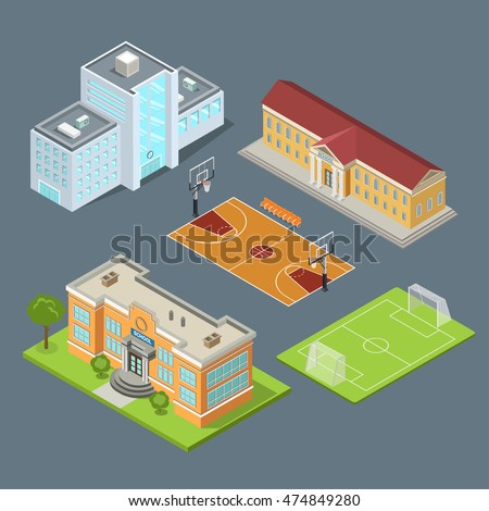 Flat isometric set of school buildings, basketball field and soccer stadium vector illustration. Municipal educational facilities. Modern city architecture infographic 3d isometry concept.