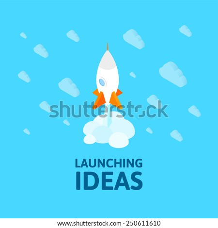 Flat isometric space symbol rocket ship icon, startup concept project development, vector illustration - stock vector