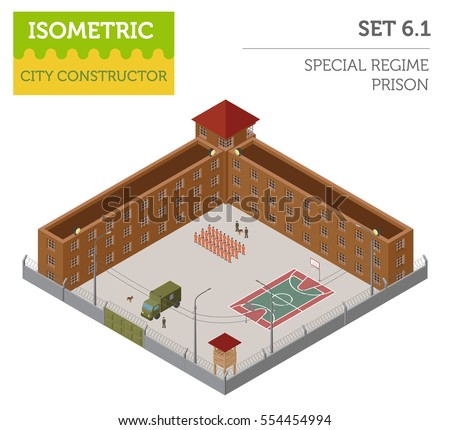 Flat isometric special regime prison, jail for city map constructor isolated on white. Build your own infographic collection. Vector illustration