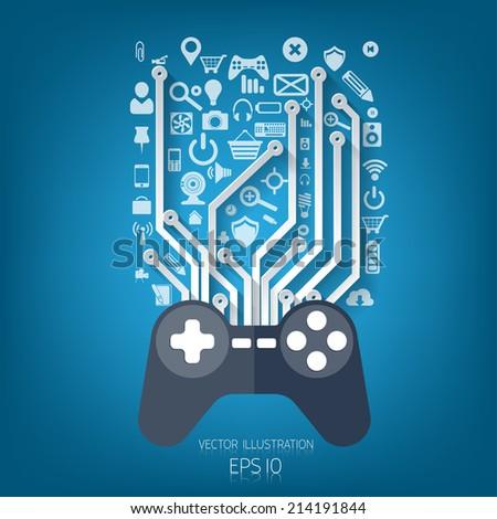 Flat joystick icon.Gaming background - stock vector