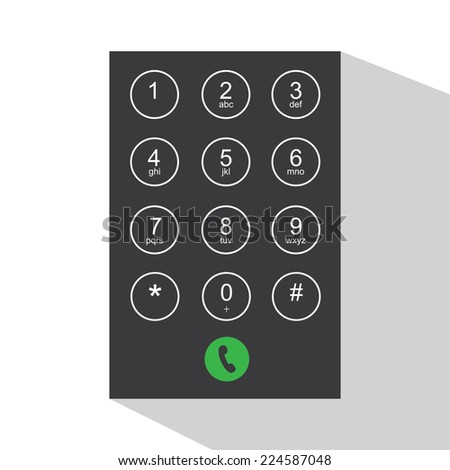 Flat keypad for phone - stock vector