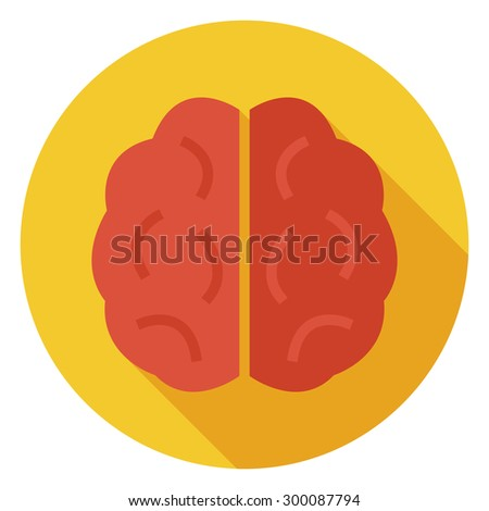 Flat Knowledge and Wisdom Brain Circle Icon with Long Shadow. Back to School Vector illustration. Medical Brain and Brainstorm Object. Learning and Studying. Clever and success idea - stock vector