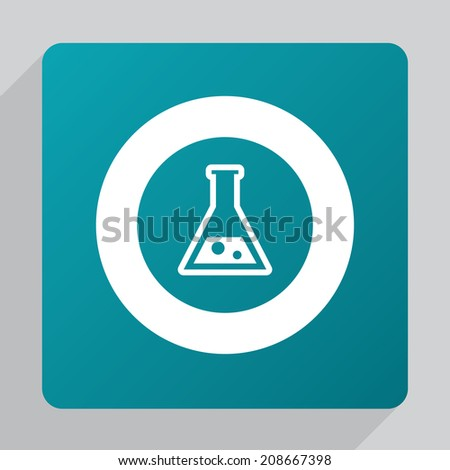flat laboratory icon, white on green background  - stock vector