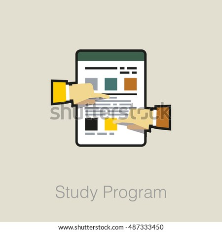 Flat laconic business web element, online education sign, button, logo of Study Program with notes paper and hands