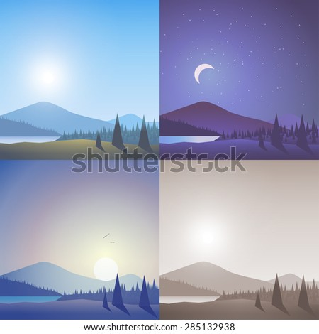 Flat landscape hilly mountain wild lake forest scene set. Stylish web banner nature outdoor collection. Daylight, night moonlight, sunset view, retro vintage picture sepia. - stock vector