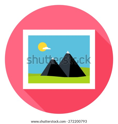 Flat Landscape Picture Circle Icon with Long Shadow. Vector Illustration of Photo Flat Stylized
