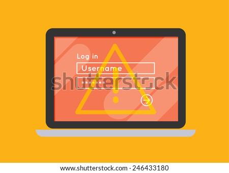 flat laptop notebook computer log-in screen vector danger error - stock vector