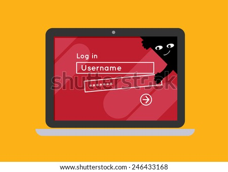 flat laptop notebook computer log-in screen vector internet hacking spy - stock vector