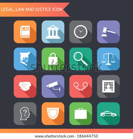Flat Law Legal Justice Icons and Symbols Vector Illustration - stock vector
