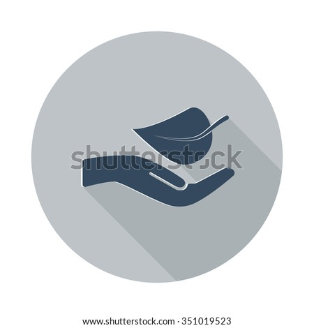 Flat Leaf In Hand icon with long shadow on grey circle