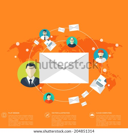 Flat letter icon. Contact, social network concept. Web site tree,map. Global communication, chat. - stock vector