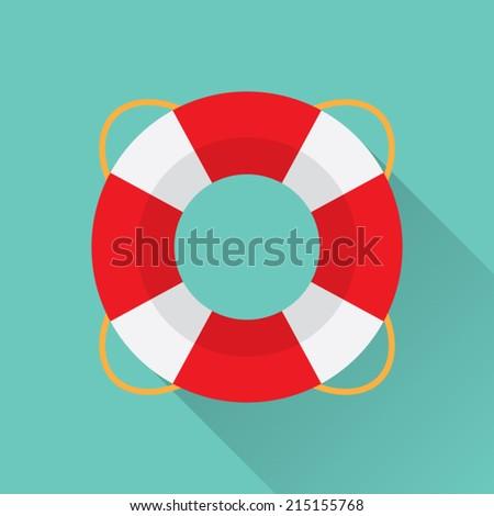 Flat Lifebelt Icon - stock vector