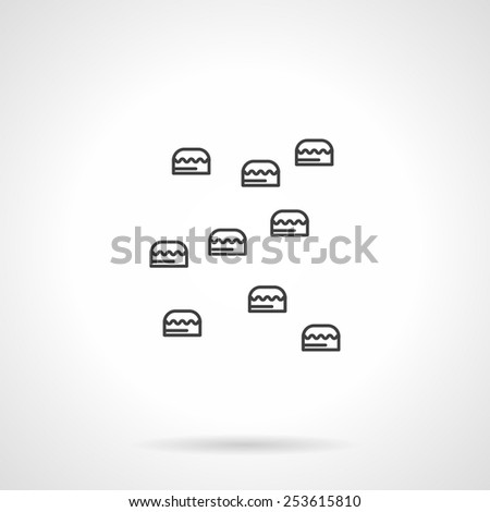 Flat line abstract vector icon for rock climbing training wall on white background. - stock vector