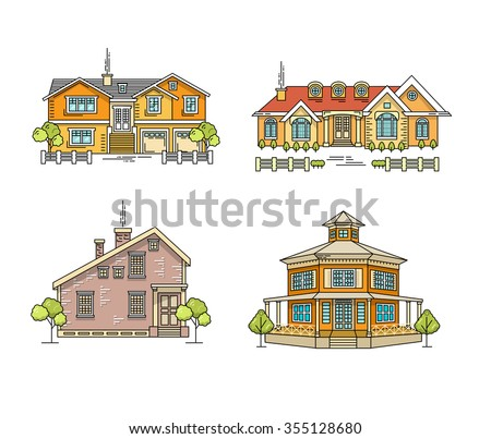 Flat line architecture design. Linear house collection. Stroke color icon set of buildings. Vector linear illustration. Outlined stroke real estate icons. Family house, villa, mansion, town house. - stock vector