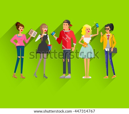 Flat line bright set of modern fashion street style young people and couples with books, bags and devices