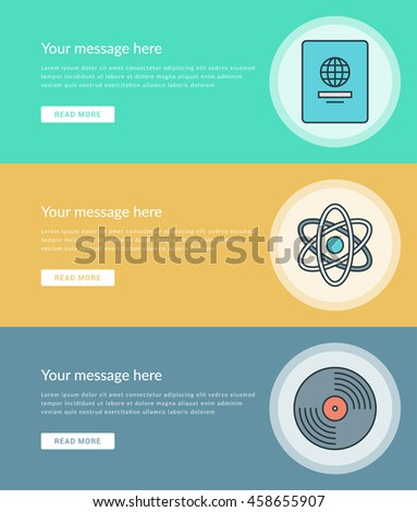 Flat line Business Concept Web Site Banners Set Vector illustration. Modern thin linear stroke icons. For Advertising Graphics, Mobile Apps, Page Layout design.