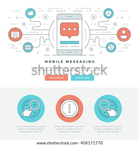 Flat line Business Concept Web Site Header Vector illustration. Modern thin linear stroke vector icons. For website graphics, Mobile Apps, Web Page Layout design. Vector Icons