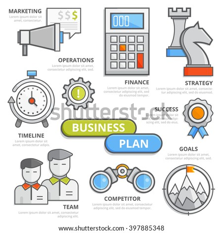 Flat Line Business Plan Concept Marketing Stock Vector 397885348