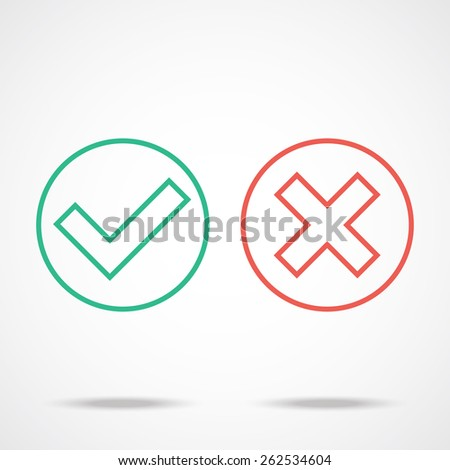 Flat line check marks icons. - stock vector