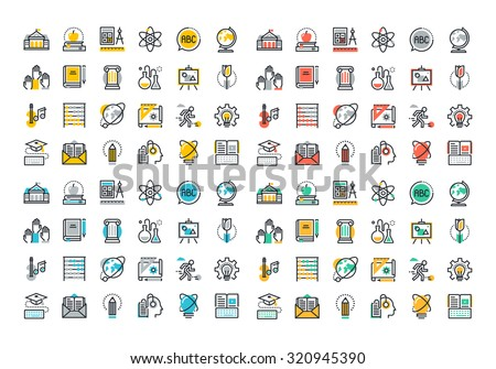 Flat line colorful icons collection of education and knowledge theme, basic and elementary study, university and college courses, distance education, webinar audio course, literature and e-book.  - stock vector