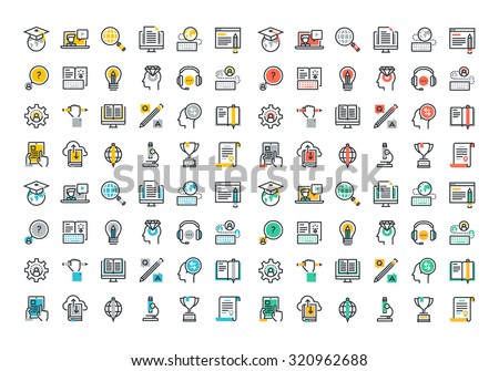 Flat line colorful icons collection of global education, e-learning, online training and courses, video tutorials, staff training, digital library, retraining and specialization.  - stock vector