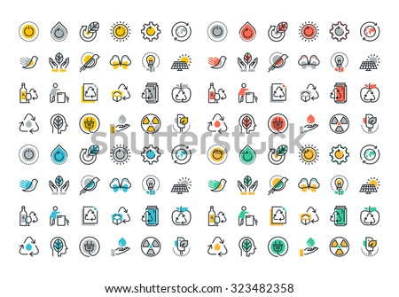 Flat line colorful icons collection of recycling, waste management , green energy, biodegradable materials, environmental protection, raising awareness of nature protection - stock vector