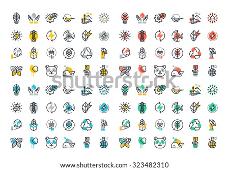 Flat line colorful icons collection of renewable energy, green technology, ecology, environment, life with nature, natural products and power - stock vector