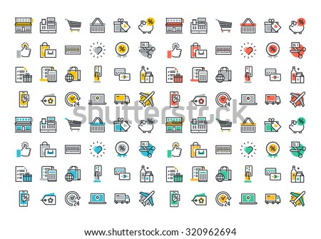 Flat line colorful icons collection of retail shopping activity, shopping and buying products, logistics services and price scanning, consumer items for selling, online shopping, discounts and coupons - stock vector