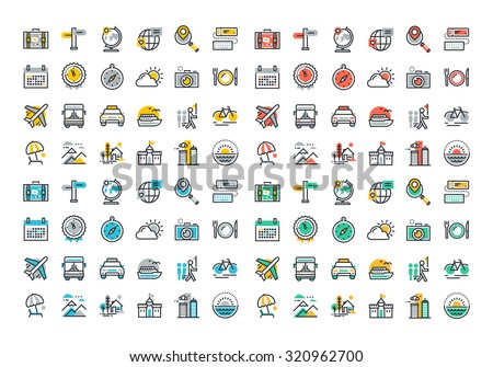 Flat line colorful icons collection of travel and tourism theme, holiday trip planning, online travel services, tour organization, air travel to cruise, summer and winter vacation, city break. - stock vector
