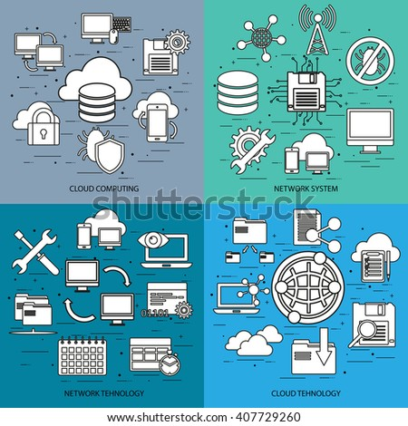Flat line concept of cloud computing, network system, network tehnology, cloud tehnology, mobile devices connected onto a cloud data storage. Flat icon. Vector flat icon. Web icon. Business icon. - stock vector