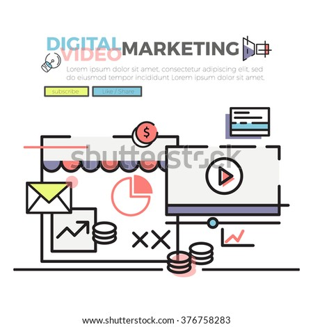 Flat line concept of Digital and Video Marketing , web banner , modern style , vector illustration