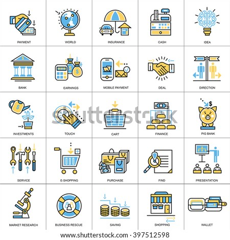 Flat line conceptual icons set of banking, finance, online payment, savings, internet payment security. Modern flat linear concept pictogram, set outline symbol for websites, mobile websites and apps. - stock vector
