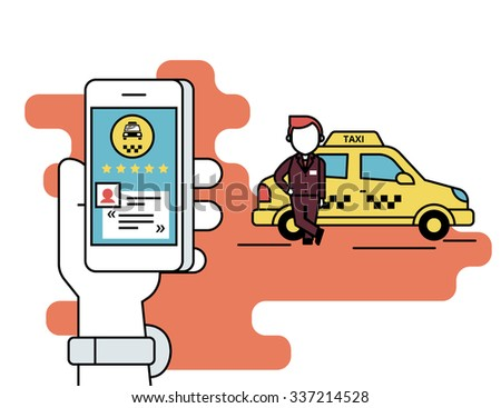 Flat line contour illustration concept process of booking taxi via mobile app. Human hand holds a smartphone with taxi app and reading a comment and rate the taxi driver. Yellow car and driver behind - stock vector