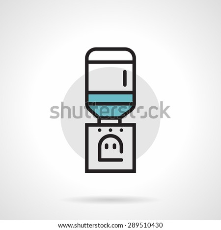 Flat line design colored vector icon for gray table cooler with bottle of potable water on white background. - stock vector