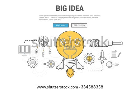 Flat line design concept for big idea , used for web banners, hero images, printed materials. Vector Illustration. - stock vector